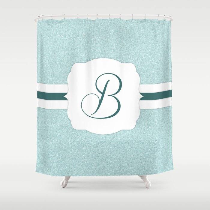 Custom Turquoise Green Monogram Print Shower Curtain By Beescustomtees Society6
