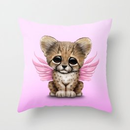 Cute Baby Cheetah Cub with Fairy Wings on Pink Throw Pillow