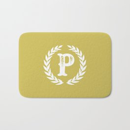Mustard Yellow Monogram: Letter P Bath Mat