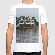 Crooked Boathouse White MEDIUM Mens Fitted Tee
