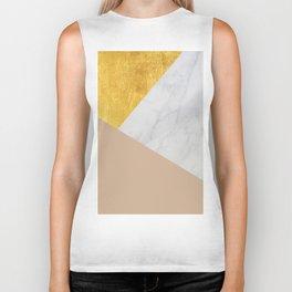 Carrara Marble with Gold and Pantone Hazelnut Color Biker Tank