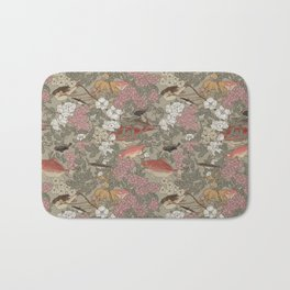 Fishes & Flowers - Seamless pattern Bath Mat