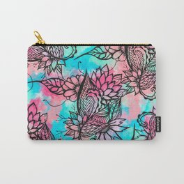 Modern floral watercolor hand drawn fall trend Carry-All Pouch