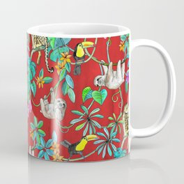 Rainforest Friends - watercolor animals on textured red Coffee Mug