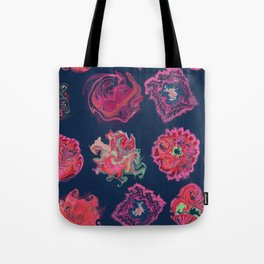 Liquid colorful shapes trendy pattern with navy background Tote Bag