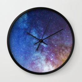 Purple Star Galaxy Wall Clock