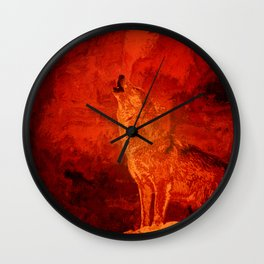 Fire Wolf Wall Clock