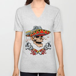 Skull Mexican style with sombrero and maracas Unisex V-Neck