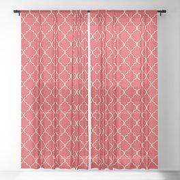 Quatrefoil Poppy Red Coconut Cream Moroccan Ogee Sheer Curtain