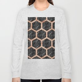 Black campari marble & copper honeycomb Long Sleeve T-shirt
