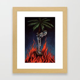 Palm Skeleton Oil Colors Framed Art Print