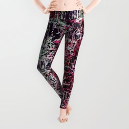 psychedelic abstract art pattern texture background in red pink black Leggings