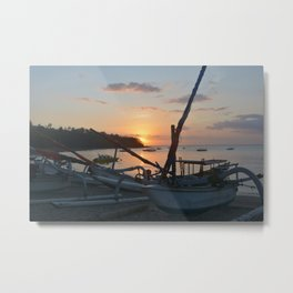 Harboring boats at Senggigi Beach Lombok  Metal Print