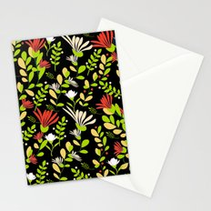 Abstract flowers with black background Stationery Cards