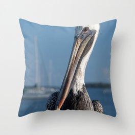 Bob The Pelican 3 Color Animal / Wildlife Photograph Throw Pillow
