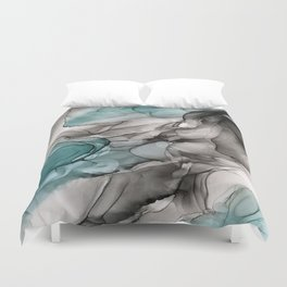 Smoky Grays and Green Abstract Flow Duvet Cover