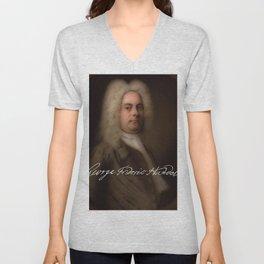 George Frideric (or Frederick) Handel (born Georg Friedrich Händel) by Balthasar Denner (c.1726–172 Unisex V-Neck
