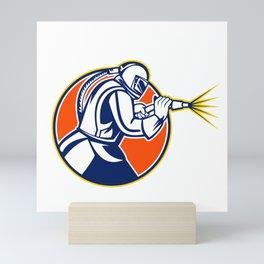 Sandblaster Abrasive Blasting Mascot Circle Mini Art Print