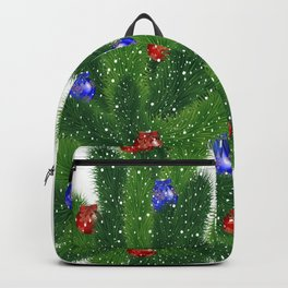 Christmas tree with red and blue balls Backpack