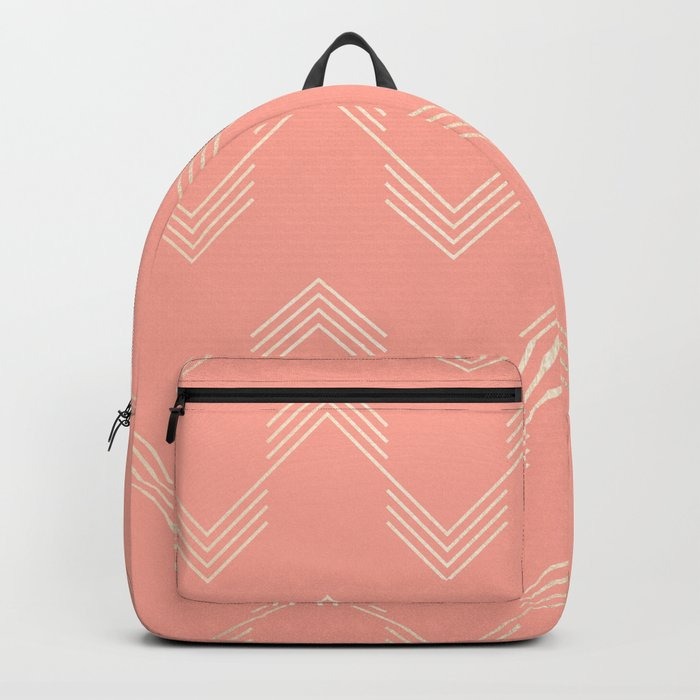 Simply Deconstructed Chevron White Gold Sands on Salmon Pink Backpack