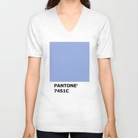 pantone V-neck T-shirts featuring PANTONE 7451C by cvrcak