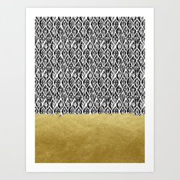 Black Gold Boho V Art Print