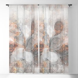 Metallic water drops Sheer Curtain