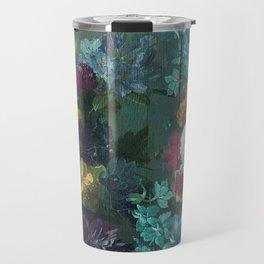 Vintage abundant floral woodpanel teal Travel Mug