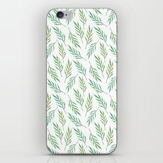 Green exotic pattern Watercolor leaves Summer greenery art painting Modern botany illustration Gift iPhone & iPod Skin