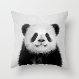 Panda Bear - Black & White Throw Pillow