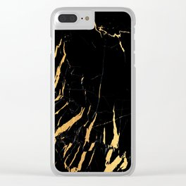 Black and gold marble #2 Clear iPhone Case