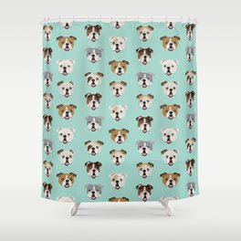 English Bulldog pattern print dog breed pet portrait gifts for dog owner bulldog Shower Curtain