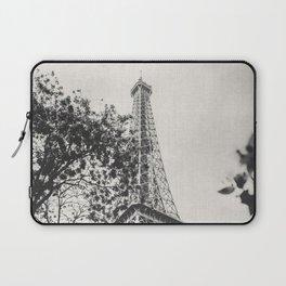 Eiffel Tower Paris France Black and White Canvas Laptop Sleeve