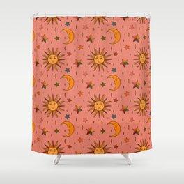 Folk Moon and Star Print Shower Curtain