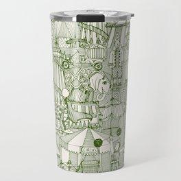 retro circus green ivory Travel Mug