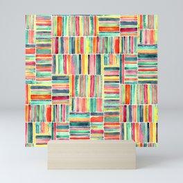Retro Beach Chair Bright Watercolor Stripes on White Mini Art Print