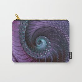 Fantastic Fractal Fantasies Purple And Teal Carry-All Pouch