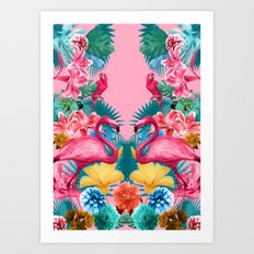 Flamingo and Tropical garden Art Print