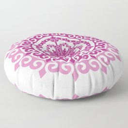 Pink Mandala on Baby Pink Background Floor Pillow