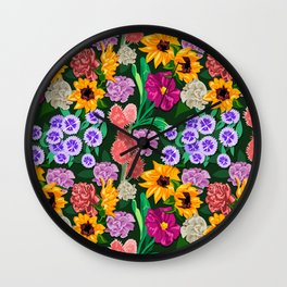 Spring Florals Pattern Wall Clock