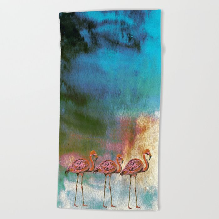 Tropical Flamingo Illustration On Watercolor - Birds Animals Beach Towel