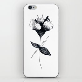 Minimalist Abstract Flower SAGFT 2, black and white iPhone Skin