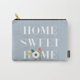 Floral Home Sweet Home - Dusty Blue Carry-All Pouch