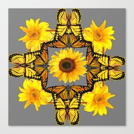 WESTERN STYLE YELLOW SUNFLOWERS & ORANGE MONARCH BUTTERFLIES Canvas Print