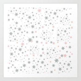Stars silver and blush Art Print