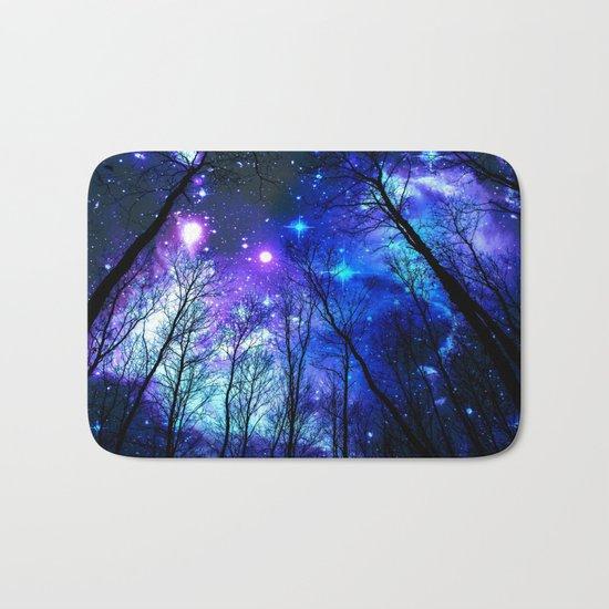 black trees purple blue space Bath Mat