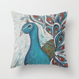 Blue Peacock with Blue Throw Pillow