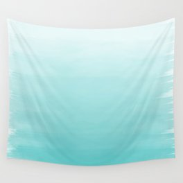 Modern teal watercolor gradient ombre brushstrokes pattern Wall Tapestry