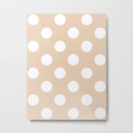 Large Polka Dots - White on Pastel Brown Metal Print