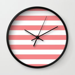 Coral and White Stripes Wall Clock